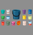various colored buckets set plastic blue vector image vector image
