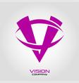 vision logo letter v vector image vector image
