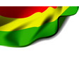 waving flag of bolivia close-up with shadow vector image vector image