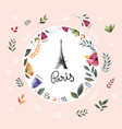 with eiffel tower and floral wreath vector image vector image