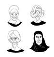 womens head portraits grunge line drawing set vector image