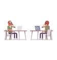 young red-haired man sitting and working at the vector image