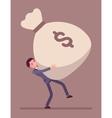 Businessman dragging a giant money sack vector image