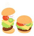 cheeseburger with greens and vegetables a set of vector image