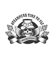Steampunk skull badge vector image