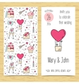 Wedding invitation card with line icons Flat vector image