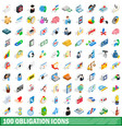 100 obligation icons set isometric 3d style vector image vector image