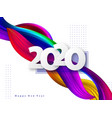 2020 new year sign on abstract liquid background vector image vector image
