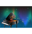 A black piano with musical notes vector image