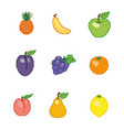 a collection of fruits in the style of pixel art vector image vector image