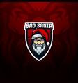 angry oldman santaclaus badge mascot logo gaming e vector image vector image