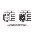 antivirus firewall icon on white background vector image