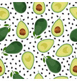 avocado seamless pattern whole and sliced on vector image vector image