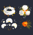 bomb toxic smoke and fire with clouds set vector image vector image