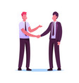 business partners men handshaking and partnership vector image vector image