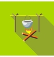 Campfire with cauldron icon flat style vector image vector image