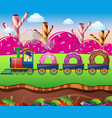 candy land with train ride with donuts vector image vector image