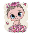 cartoon baby with flowerson a white background vector image vector image