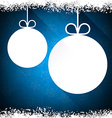 Christmas paper balls on blue background vector image vector image