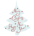 Christmas tree with handwritten greetings vector image vector image