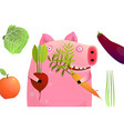 cute pig holding vegetable diet vector image vector image