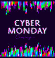 cyber monday sale poster glitch design vector image vector image