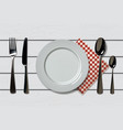 empty realistic plate with spoon knife and fork vector image vector image