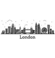 engraved london england city skyline with modern vector image vector image