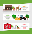 flat farm horizontal banners vector image vector image
