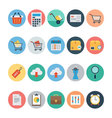 Flat Shopping and Commerce Icons 1 vector image vector image