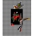 flying bird and red roses stickers for embroidery vector image vector image