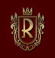 golden royal coat of arms r monogram vector image vector image