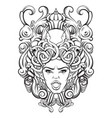 gorgone with baroque frame made in hand drawn vector image vector image
