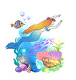 hand drawn mermaid vector image vector image