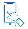 hand human with smartphone device vector image