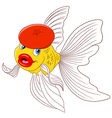 happy cartoon goldfish vector image vector image