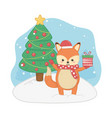 happy merry christmas card with fox vector image vector image