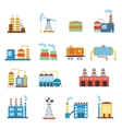 Industrial building factories and plants icons set vector image vector image