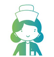 line woman nurse with uniform and hairstyle design vector image vector image