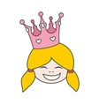 Little blond princess with pink crown isolated vector image
