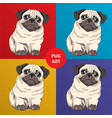 Lovely pug puppy cartoon character