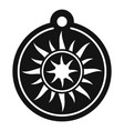 magic sun medallion icon simple style vector image