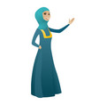 muslim business woman showing a direction vector image vector image