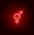 neon male and female sign gender symbol vector image vector image