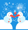 new year card with funny snowmen on a blue vector image