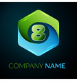 Number eight logo symbol in the colorful hexagonal vector image vector image