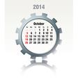 October 2014 - calendar vector image vector image