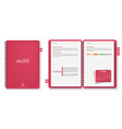 pink note book realistic 3d detailed vector image vector image