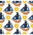 pirate ship kids cartoon piracy backdrop vector image vector image