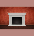 red brick wall room with fireplace vector image